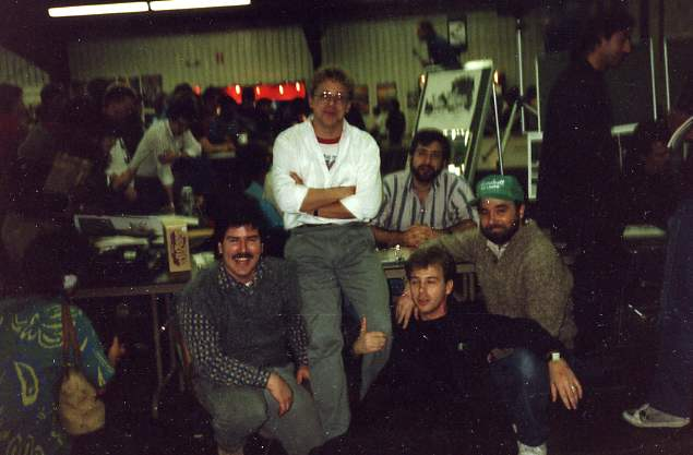 Eclipse Table Mid-Ohio Con Circa late 1980's. Left to Right - Tim Harkins, Ron Frenz, Flint Henry (on floor) Beau Smith, and sitting at the table, Chuck Dixon.
