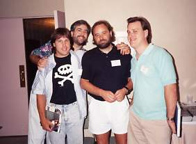 Chicago Con late 1980s. Left to right - Gary Kwapisz, Chuck Dixon, Beau Smith & Todd Fox