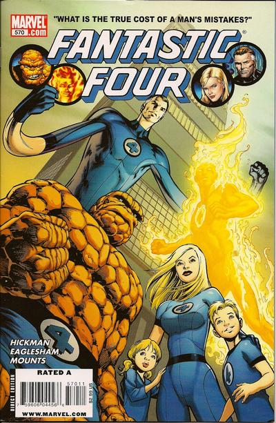 Fantastic Four #570, Hickman's first issue. Cover by Alan Davis