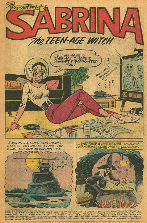 Sabrina's first appearance anywhere, from Archie's Mad House #22. Art by Dan DeCarlo.