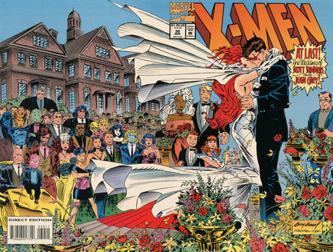 Jean & Scott get married from X-Men #30. Art by Andy Kubert & Matt Ryan.