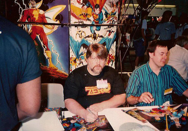 KC Carlson and Jerry Ordway sign Zero Hour at San Diego.