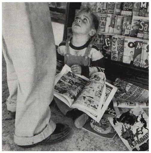 Boy Reading Comics from Friends magazine August 1959