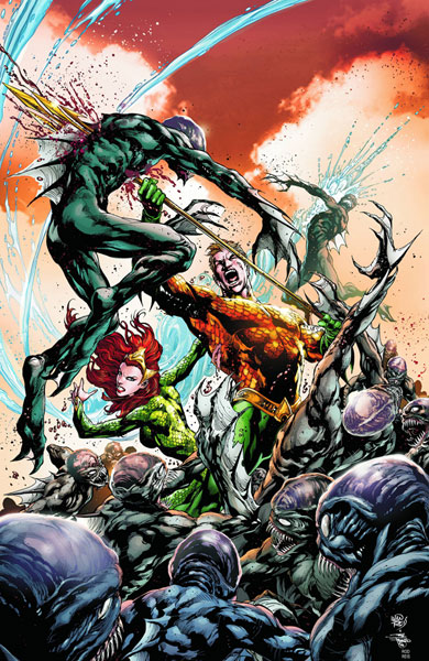 Aquaman impales a foe on the cover of Aquaman #3.