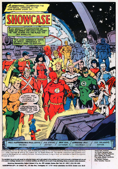 Page 1: The troops assemble in the JLA Satellite.