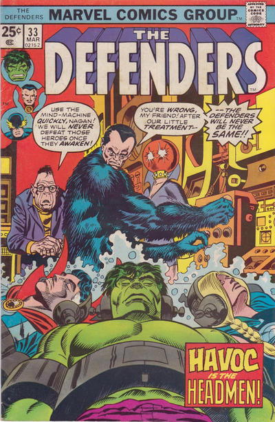 Defenders #33 featuring the villainous Headmen
