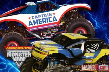 Captain America and Wolverine Monster Trucks!