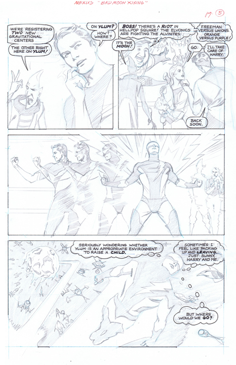 A special look at Steve Rude's pencils for the upcoming Nexus story. Page 5