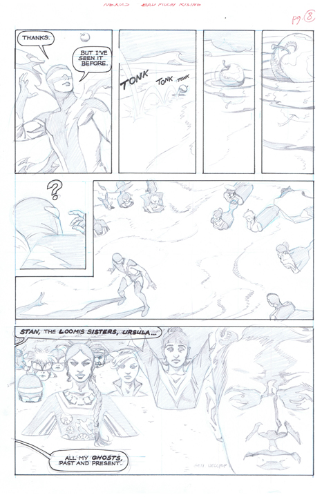 More of Steve Rude's gorgeous pencils for an upcoming Nexus story. Page 8