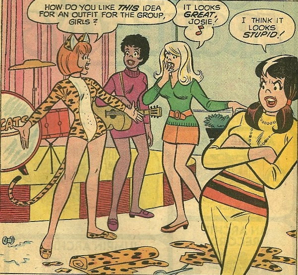 From Josie and the Pussycats #45, Dec. 1969. First comic book appearance of the classic Pussycats outfit.