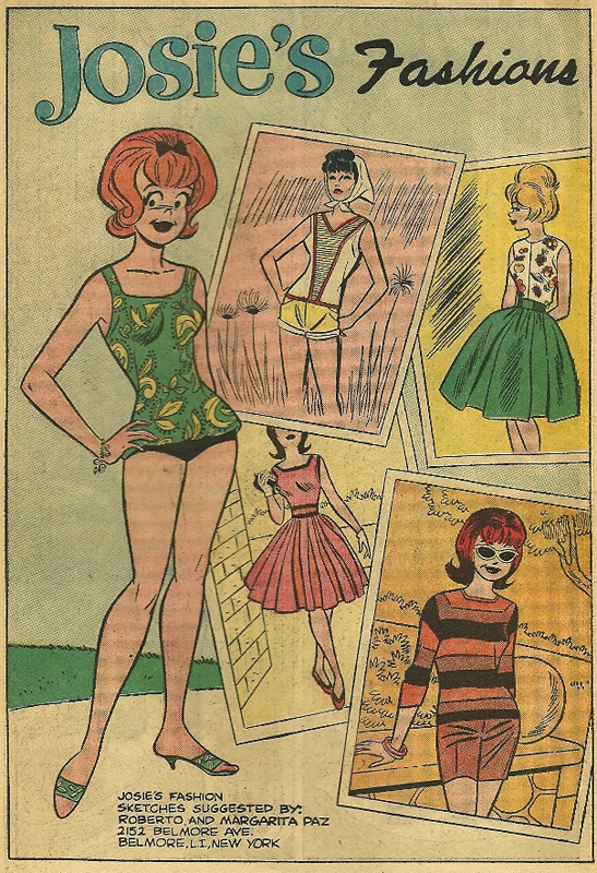 This fashion page shows off Josie's famous hairstyle, adapted from Josie DeCarlo's actual hairstyle at the time. Also note artist Dan DeCarlo showing off his illustrative fashion style in both this and the Melody page below. From She's Josie #4, Nov. 1963.