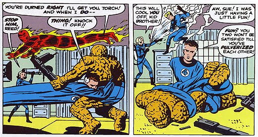 An early Human Torch and The Thing dust up from Fantastic Four #5 by Stan Lee & Jack Kirby.