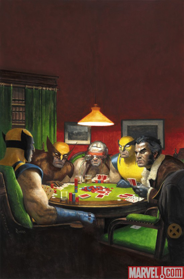 Wolverine plays poker on this variant cover to Amazing Spider-Man #590