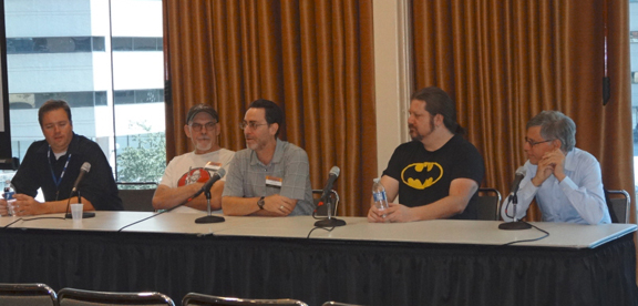 The Tribute to Joe Kubert panel with Thom Zahler, Tim Truman, moderator Robert Greenberger, Tom Raney & Paul Levitz.