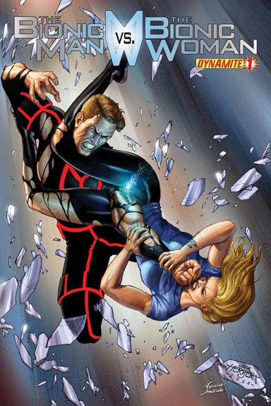 The Bionic Man vs. The Bionic Woman #1 cover by Jack Herbert.