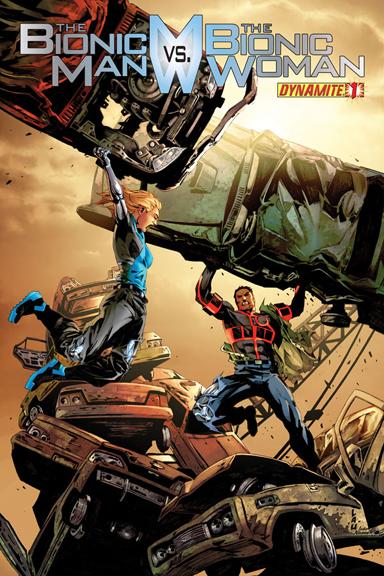 The Bionic Man vs. The Bionic Woman #1 cover by Jonathan Lau.