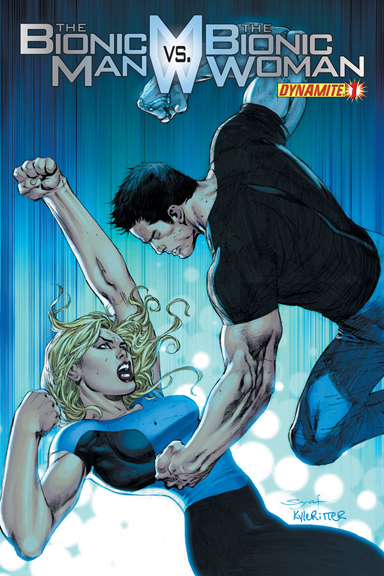 The Bionic Man vs. The Bionic Woman #1 cover by Ardian Syaf.