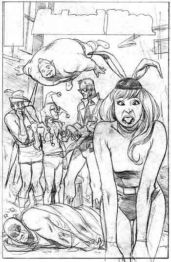 Brian Bolland's unused cover for Animal Man #25 featuring the Inferior Five.