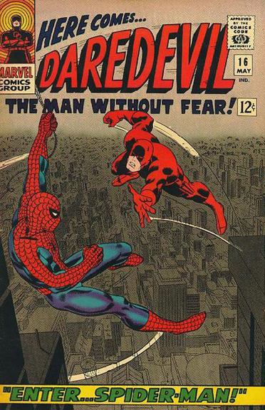 Spidey meets Daredevil on the cover of Daredevil #16.