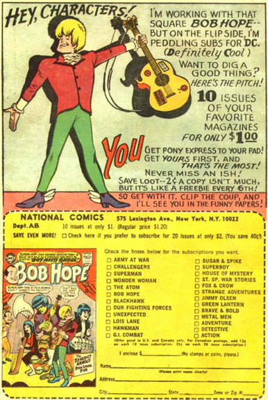 A groovy ad for subscriptions to DC comics.