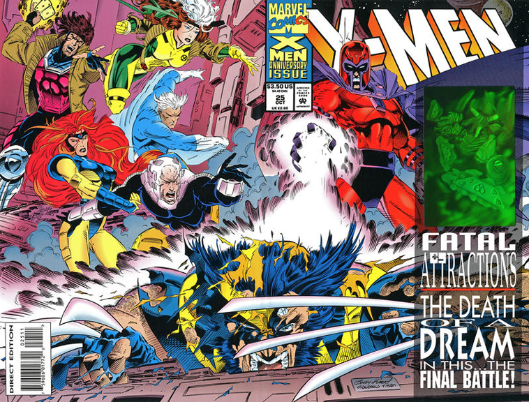 X-Men #25 with a hologram on the cover