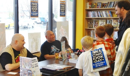 Cory Carani and Jeff Moy keep the crowd entertained on Free Comic Book Day!