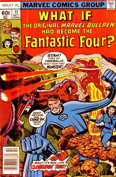 What If #11. Flo appears on the cover and the interiors of this infamous issue, where the Marvel Bullpen becomes the Fantastic Four!