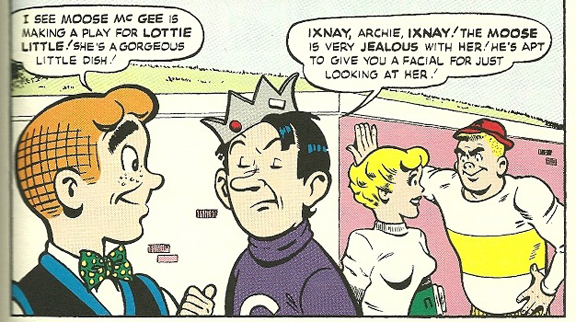 First ever appearance of Big Moose. Nice hat. From Archie's Pal Jughead #1 (1949). Artist: Samm Schwartz.