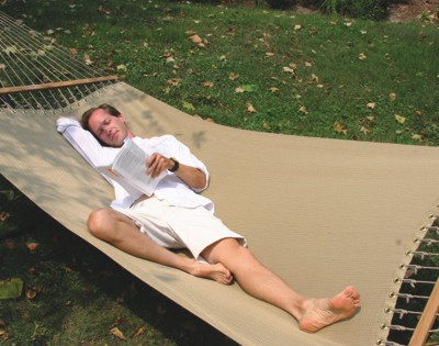 Reading in hammocks. It's the thing to do! (No, that isn't KC.)