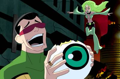 The animated Matter-Eater Lad. Yes, he's eating the Emerald Empress' Emerald Eye. Ewwwww....