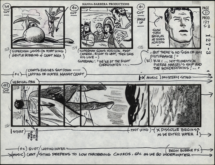 A Super Friends storyboard sheet. TM & © Hanna-Barbera. Used with permission.