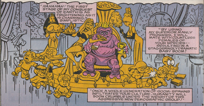 "From the Venus story. This ""imaginary"" panel shows us what happens if a Kirby Monster mates with Millie and Chili. And this gets approved by the Code?"