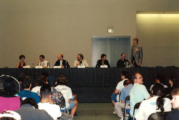 The Legend panel from San Diego in 1993. From left to right: Barbara Randall Kesel (original Hellboy editor), Mike Mignola, Arthur Adams, John Byrne, Frank Miller, Geof Darrow, Dark Horse Comics president, Mike Richardson. Photo by Roger Ash.