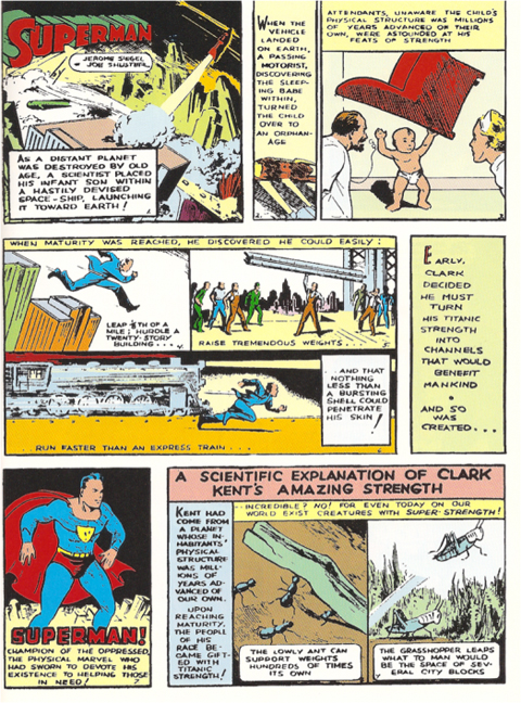 Superman's first origin story from Action Comics #1.