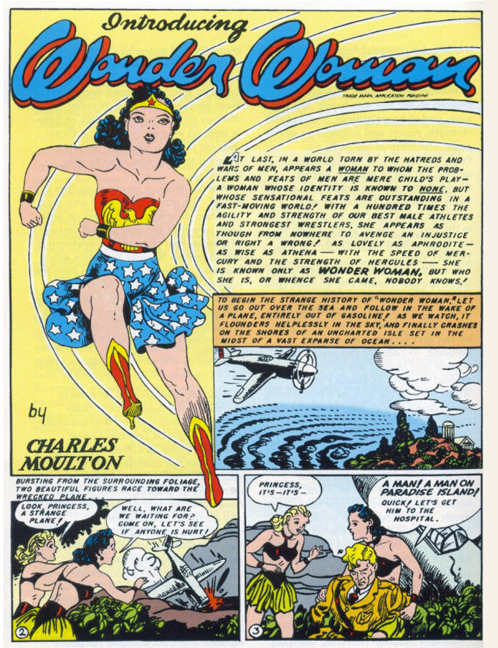 Page one of the Wonder Woman origin from All-Star Comics #8. Note that the large image of Wonder Woman is also used on the cover of Sensation Comics #1, her next appearance.