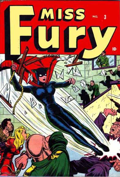 Miss Fury #3. Miss Fury's costume was Romita's inspiration for Black Widow's new costume.