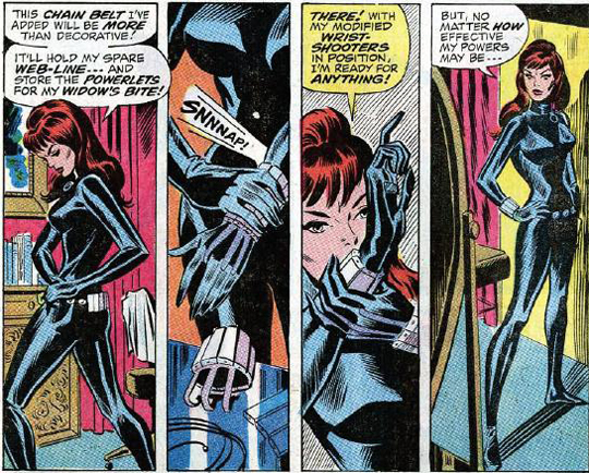 The Black Widow tries on her new costume. From Amazing Spider-Man #86.