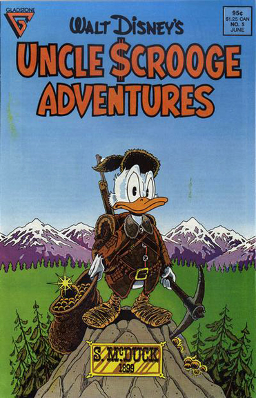 """Don Rosa's cover to Uncle Scrooge Adventures #5, where """"Last Sled to Dawson"""" originally appeared."""