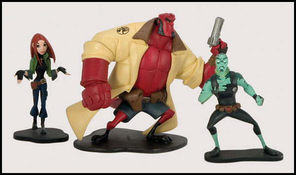 Image: Hellboy Animated 3-Piece PVC Set  - Dark Horse Comics