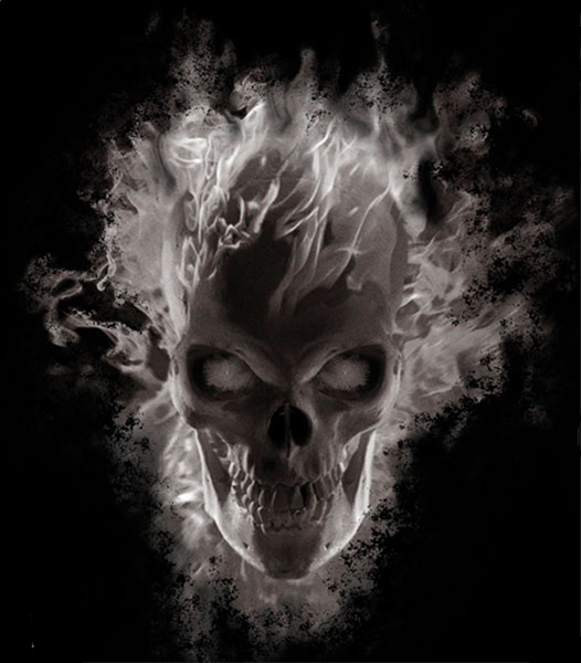 Image: Ghost Rider: Ghostly Head Black T-Shirt  (L) - Marvel Comics