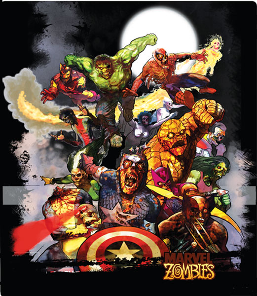 Image: Marvel Zombies: Zombie Light Black T-Shirt  (M) - Marvel Comics