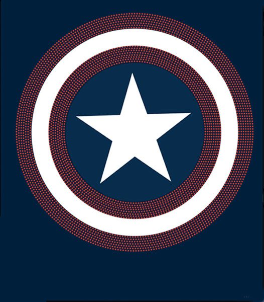 Image: Captain America: Bling Symbol Navy T-Shirt  (L) - Marvel Comics