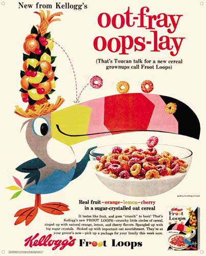 Image: Kelloggs Vintage Tin Sign: Fruit Loops  -