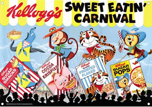 Image: Kelloggs Vintage Tin Sign: Sweet Eatin Carnival  -