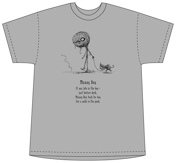 Image: Tim Burton Mummy Boy Gray T-Shirt  (XL) -