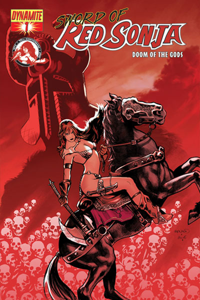 Image: Sword of Red Sonja: Doom of the Gods #1 (Paul Renaud Cover) - D. E./Dynamite Entertainment