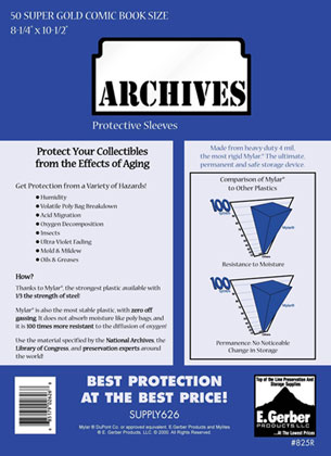 Image: Archives Sleeves: Super Gold Size  (8-1/4x11) (50) -