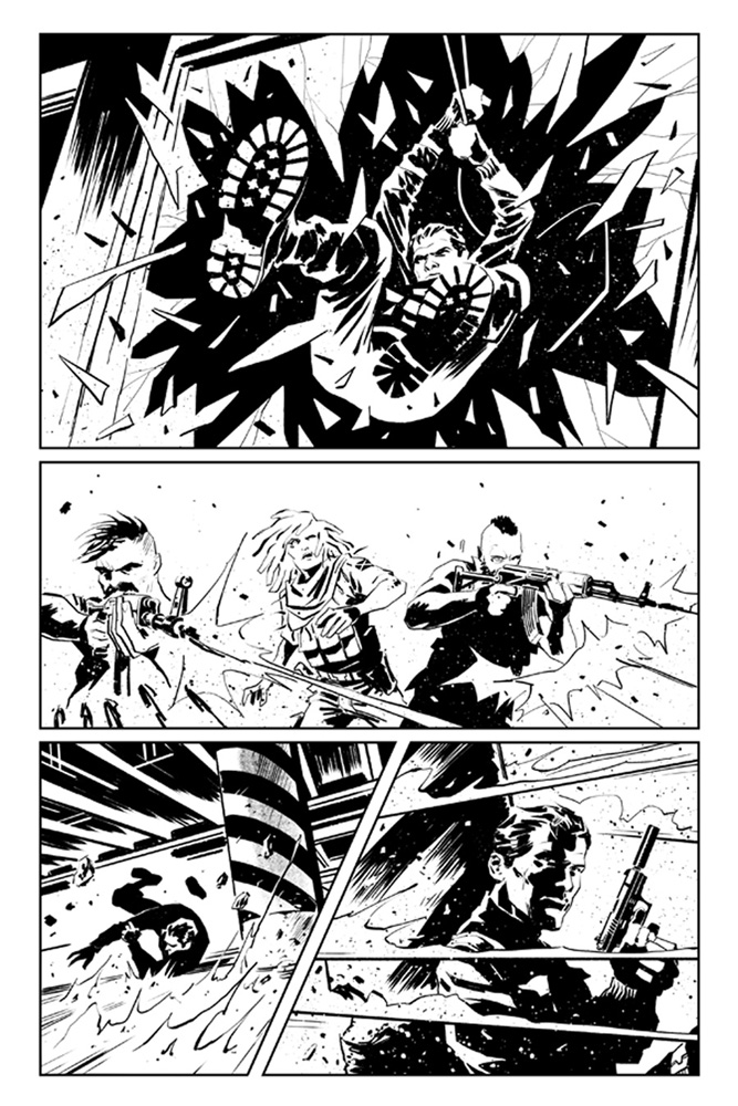 James Bond: Hammerhead #1 uncolored preview art by Luca Casalanguida.