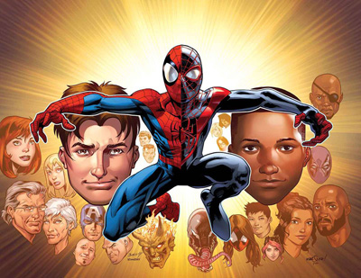 Peter and Miles share the cover of Ultimate Spider-Man #200. Art by Mark Bagley.