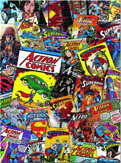 Comic Book Cover Collage : Dc piece jigsaw puzzle superman covers collage